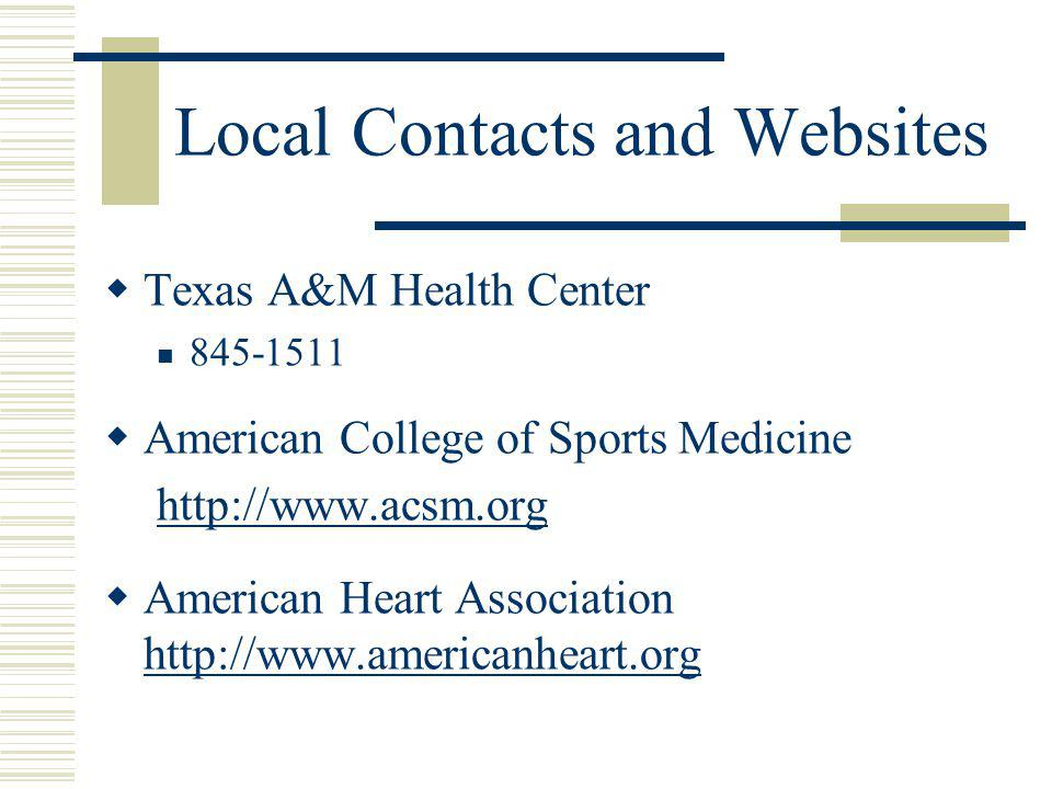 Local Contacts and Websites