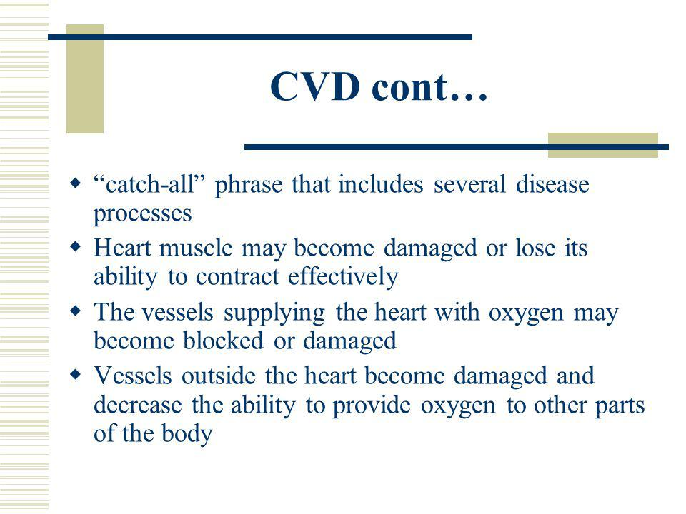 CVD cont… catch-all phrase that includes several disease processes