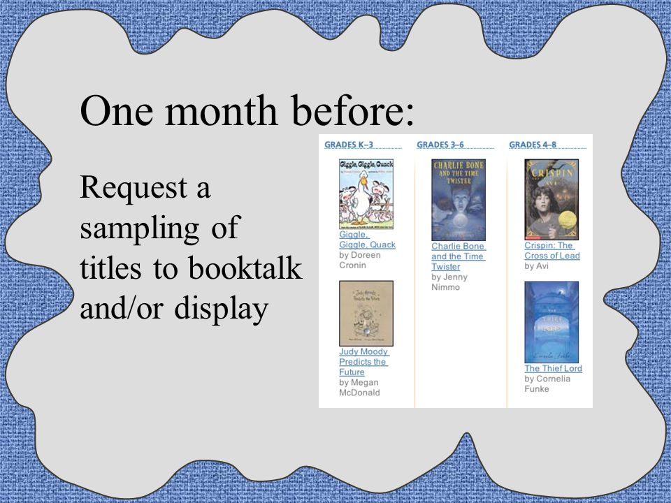 One month before: Request a sampling of titles to booktalk and/or display