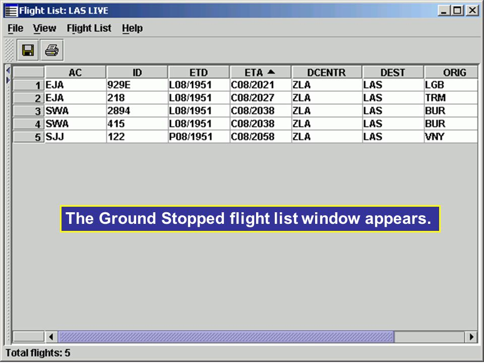 The Ground Stopped flight list window appears.