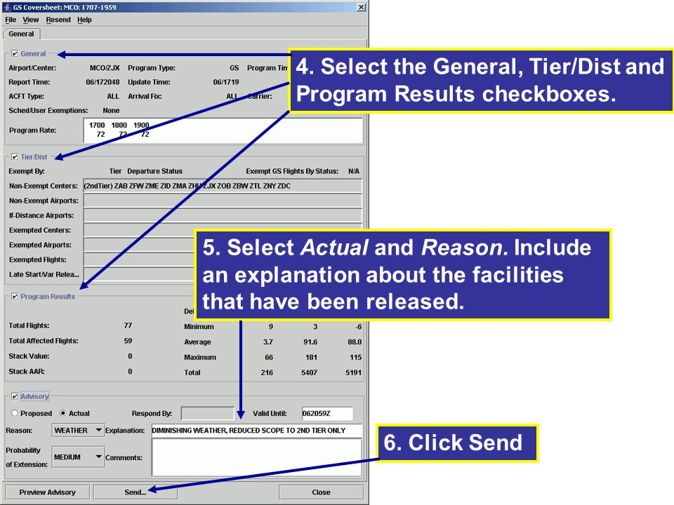 4. Select the General, Tier/Dist and Program Results checkboxes.