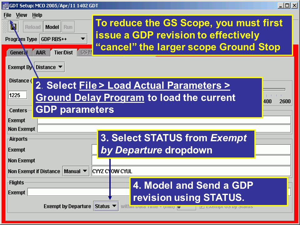 3. Select STATUS from Exempt by Departure dropdown