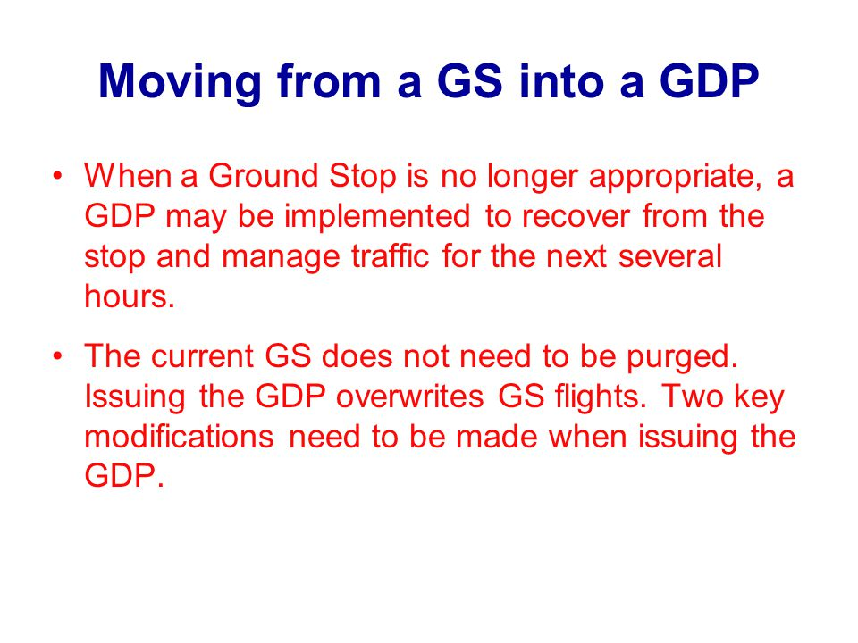 Moving from a GS into a GDP