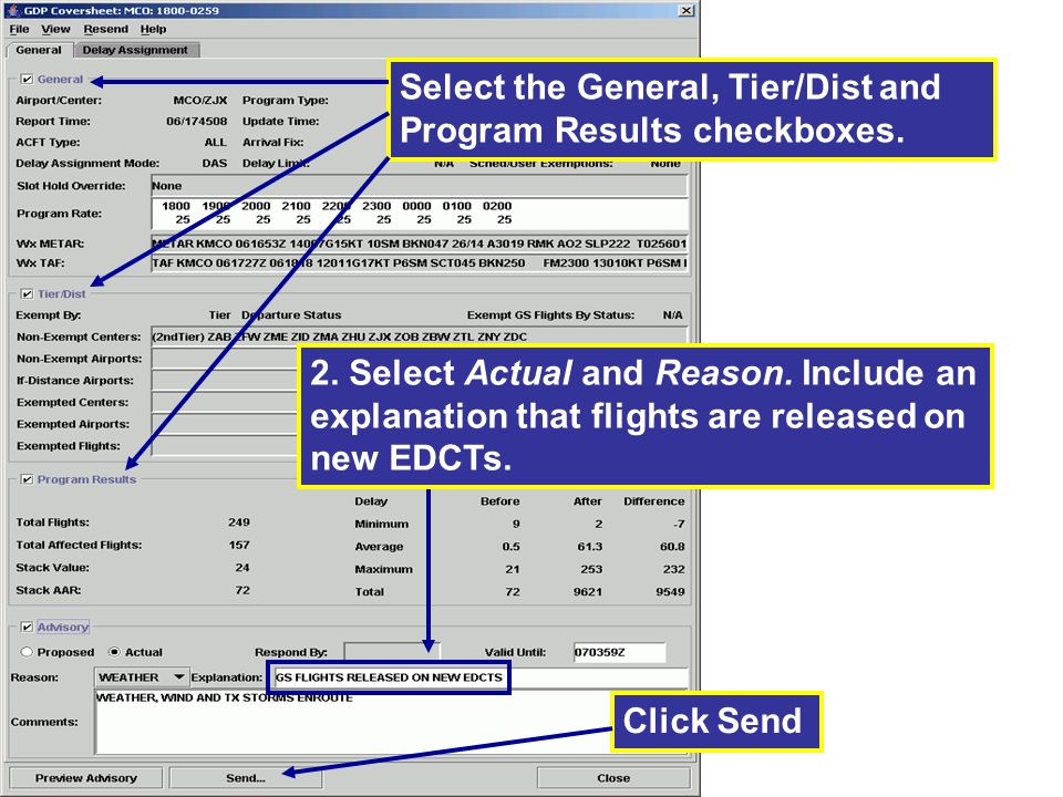 Select the General, Tier/Dist and Program Results checkboxes.
