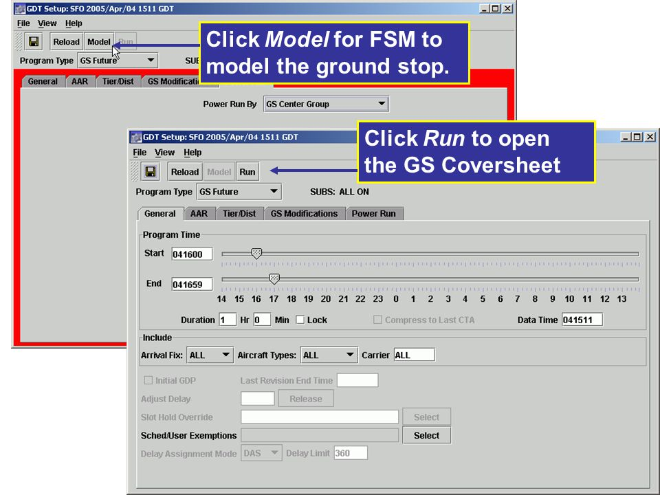 Click Model for FSM to model the ground stop.