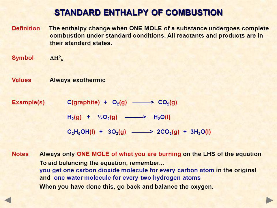 STANDARD ENTHALPY OF COMBUSTION