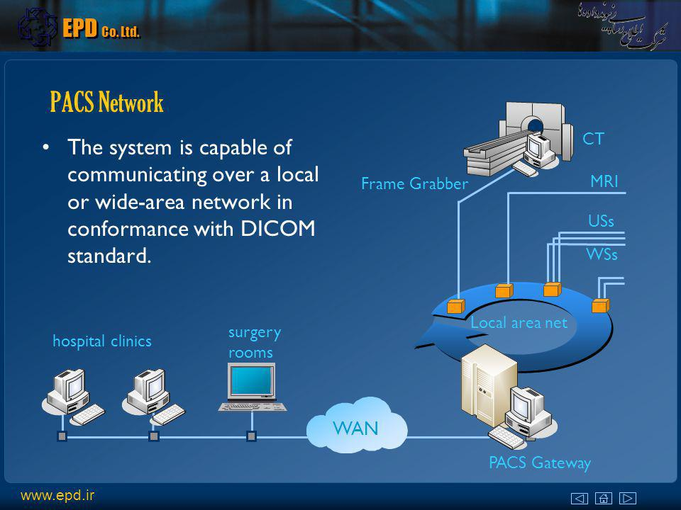 EPD Co. Ltd. PACS Network. The system is capable of communicating over a local or wide-area network in conformance with DICOM standard.