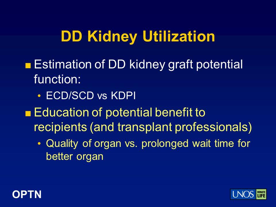 DD Kidney Utilization Estimation of DD kidney graft potential function: ECD/SCD vs KDPI.