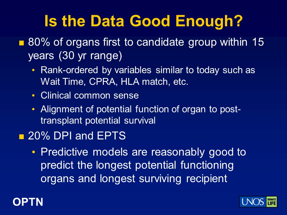 Is the Data Good Enough 80% of organs first to candidate group within 15 years (30 yr range)