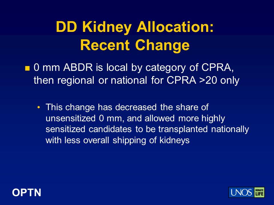 DD Kidney Allocation: Recent Change