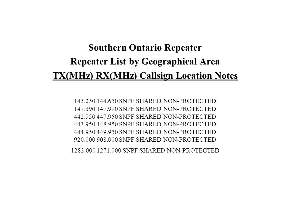 TX(MHz) RX(MHz) Callsign Location Notes