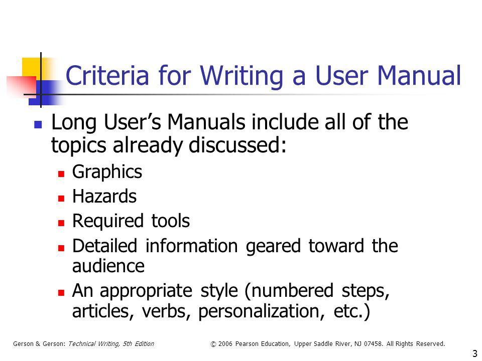 Criteria for Writing a User Manual