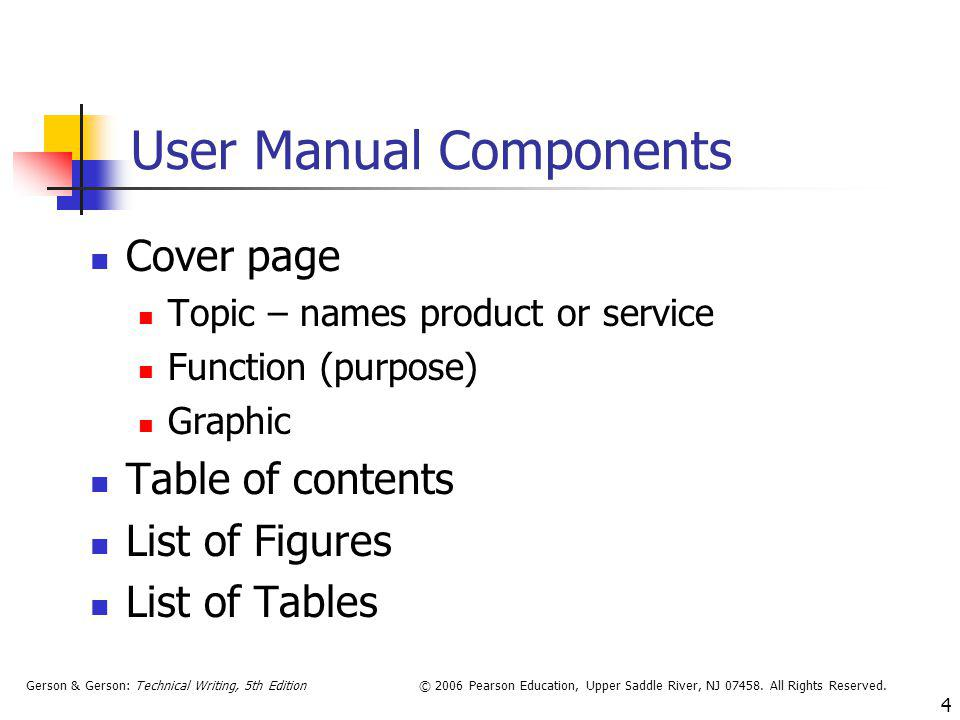 User Manual Components