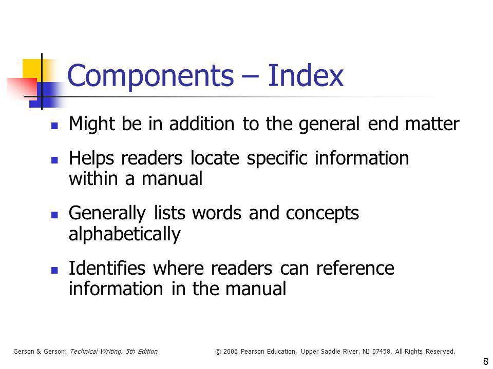 Components – Index Might be in addition to the general end matter