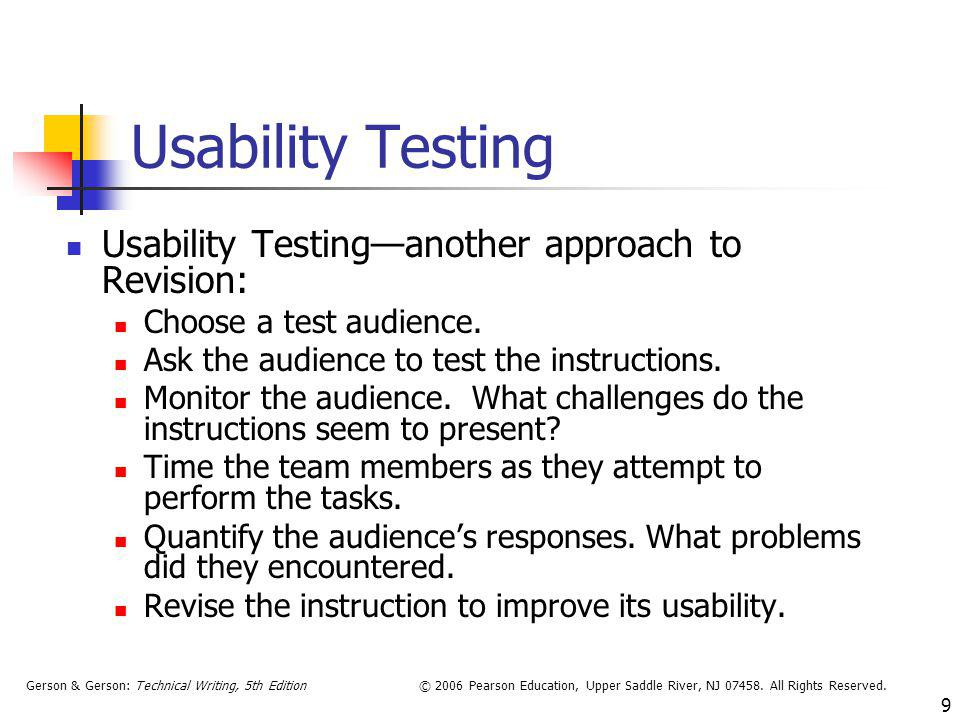 Usability Testing Usability Testing—another approach to Revision: