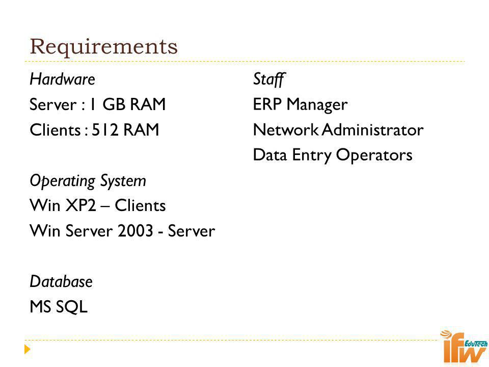 Requirements Hardware Server : 1 GB RAM Clients : 512 RAM Operating System Win XP2 – Clients Win Server 2003 - Server Database MS SQL
