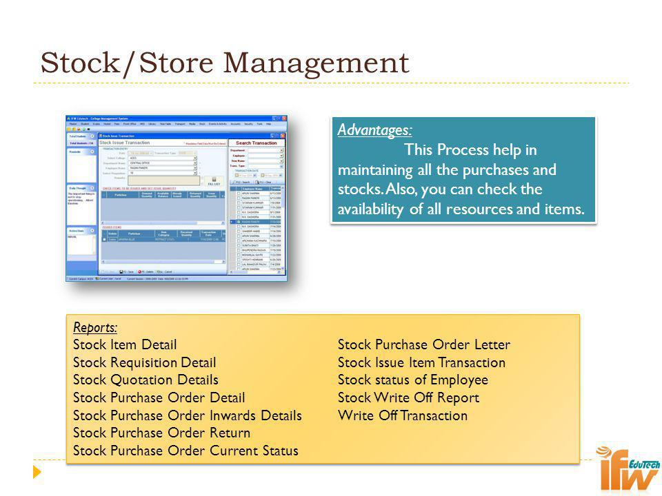Stock/Store Management