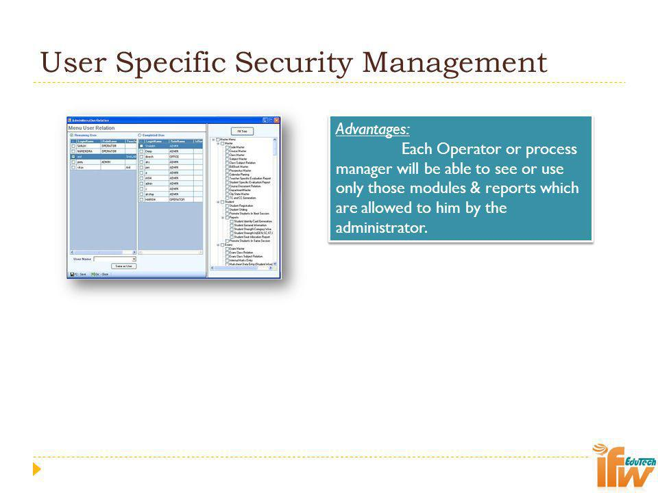 User Specific Security Management