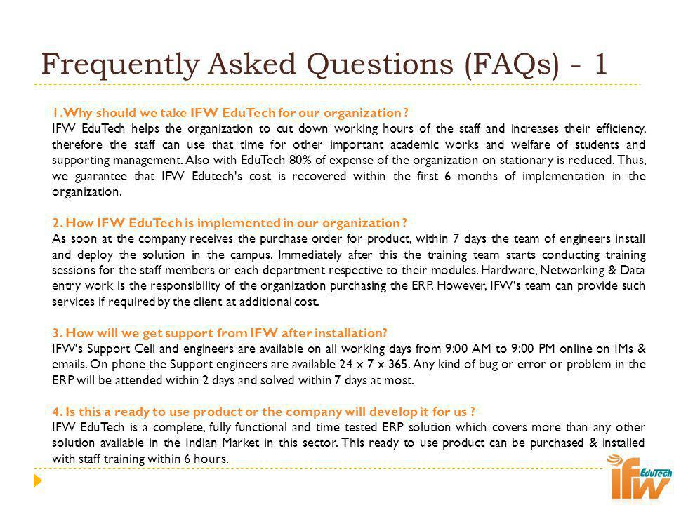 Frequently Asked Questions (FAQs) - 1