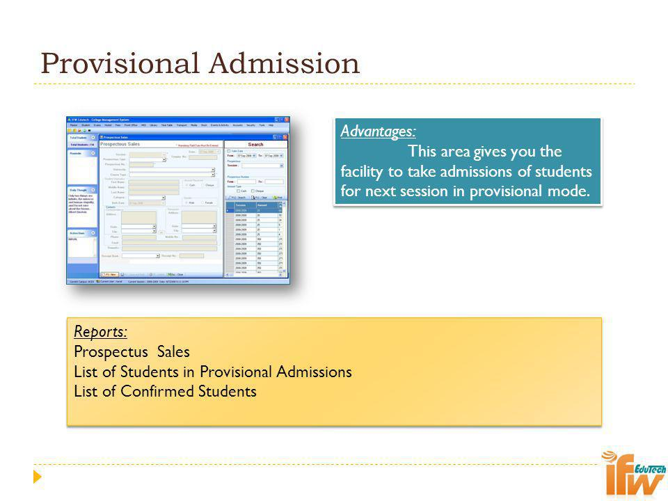 Provisional Admission