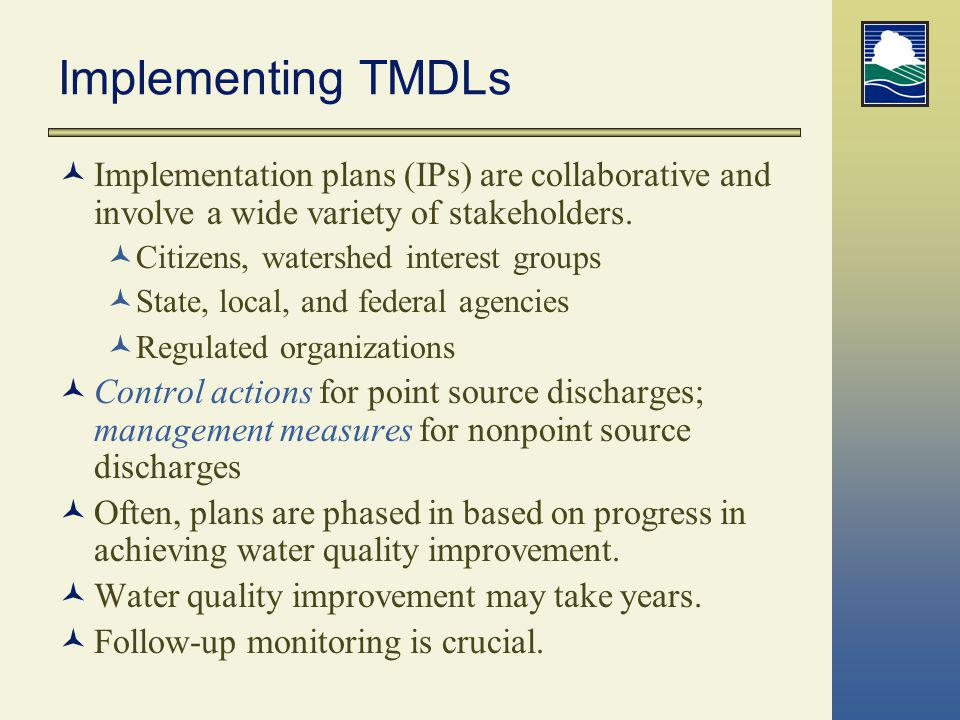 Implementing TMDLs Implementation plans (IPs) are collaborative and involve a wide variety of stakeholders.