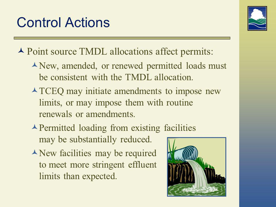 Control Actions Point source TMDL allocations affect permits:
