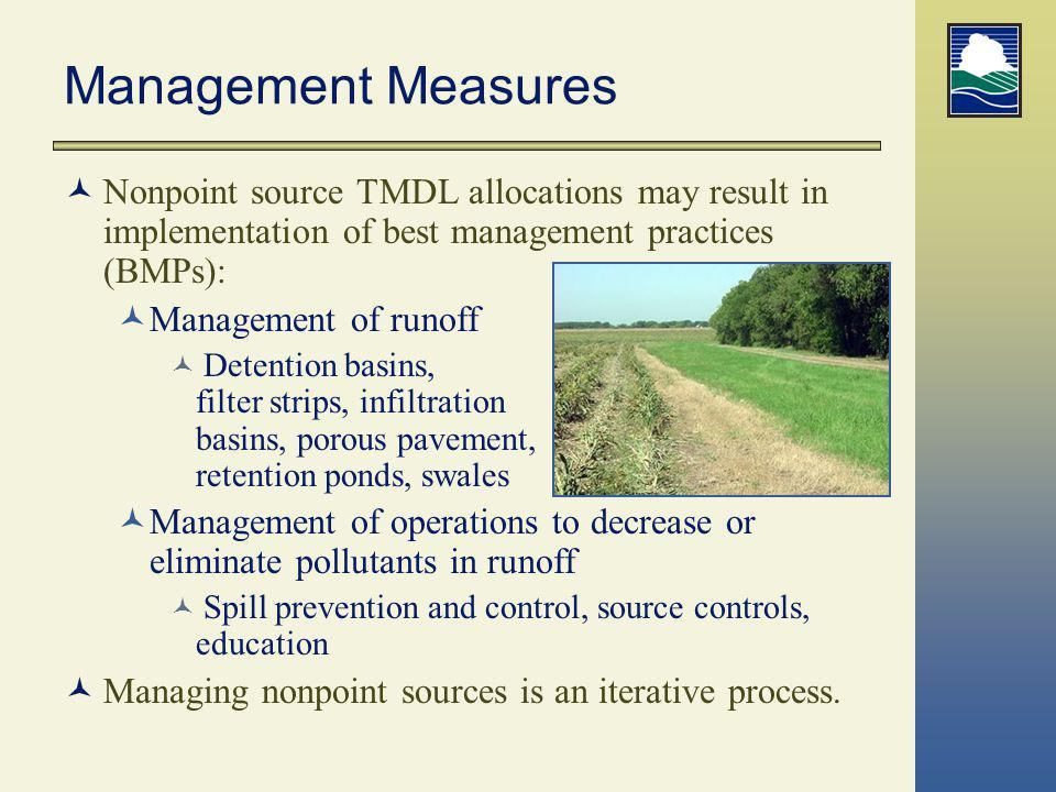 Management Measures Nonpoint source TMDL allocations may result in implementation of best management practices (BMPs):