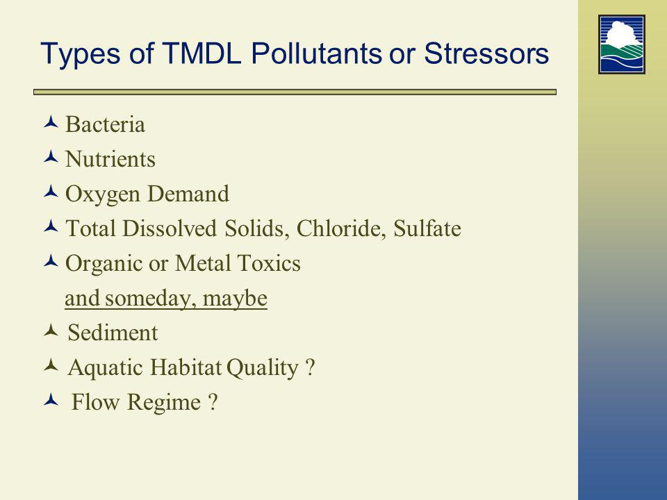 Types of TMDL Pollutants or Stressors