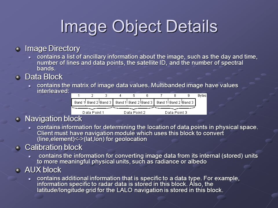Image Object Details Image Directory Data Block Navigation block