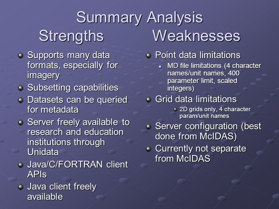 Summary Analysis Strengths Weaknesses