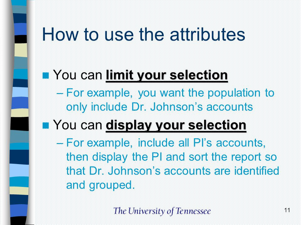 How to use the attributes