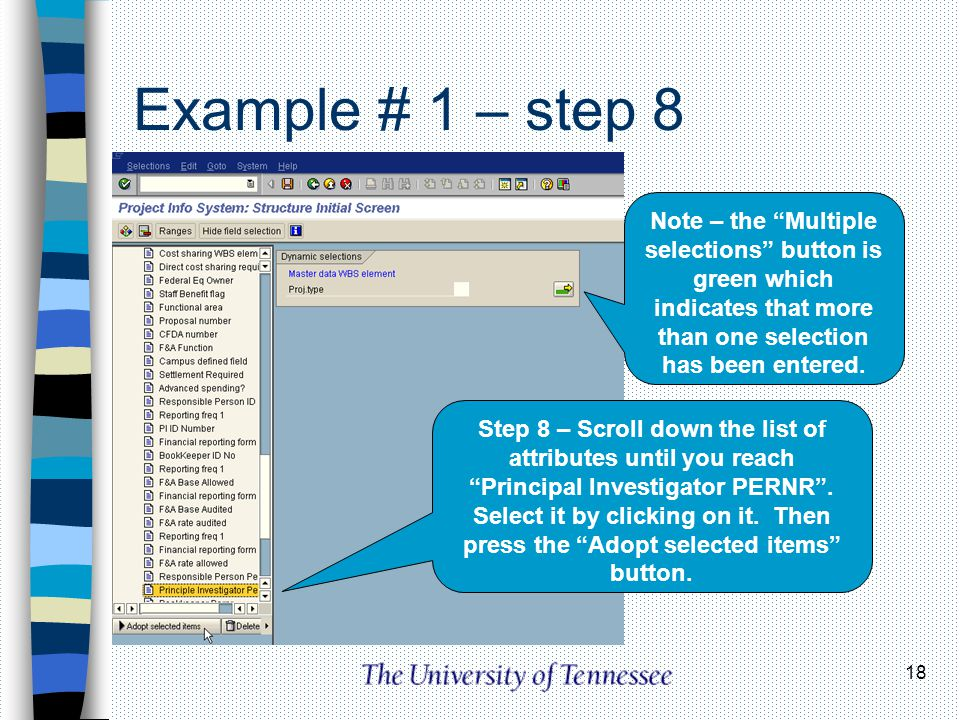 Example # 1 – step 8 Note – the Multiple selections button is green which indicates that more than one selection has been entered.