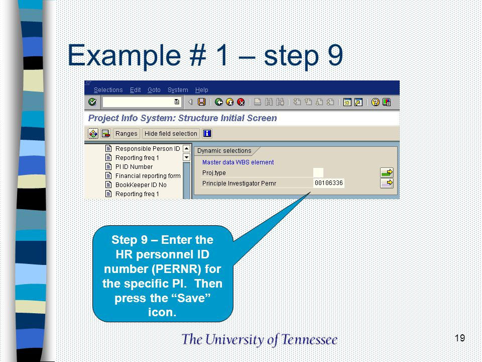 Example # 1 – step 9 Step 9 – Enter the HR personnel ID number (PERNR) for the specific PI.