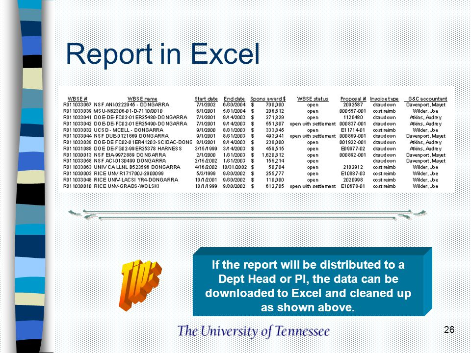 Report in Excel Tip: If the report will be distributed to a Dept Head or PI, the data can be downloaded to Excel and cleaned up as shown above.