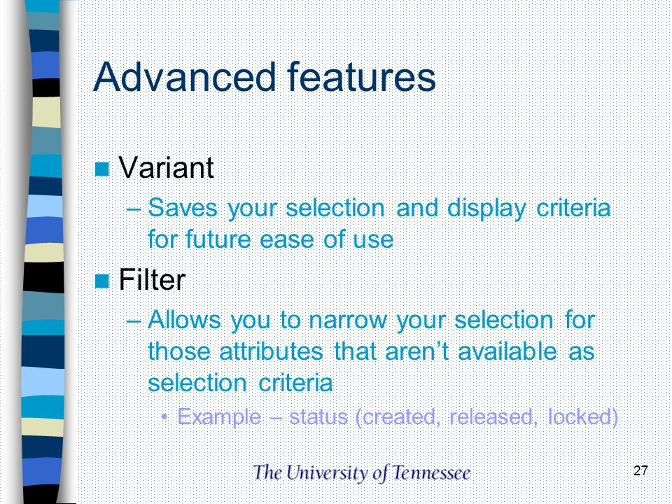 Advanced features Variant Filter