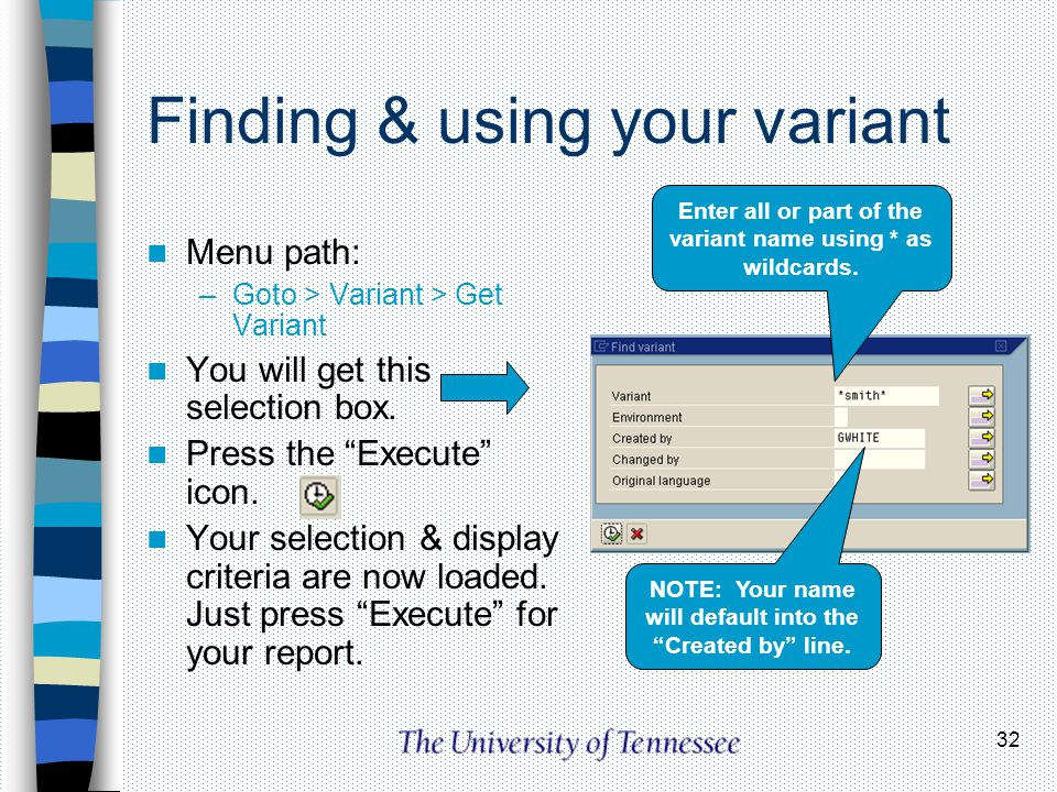 Finding & using your variant