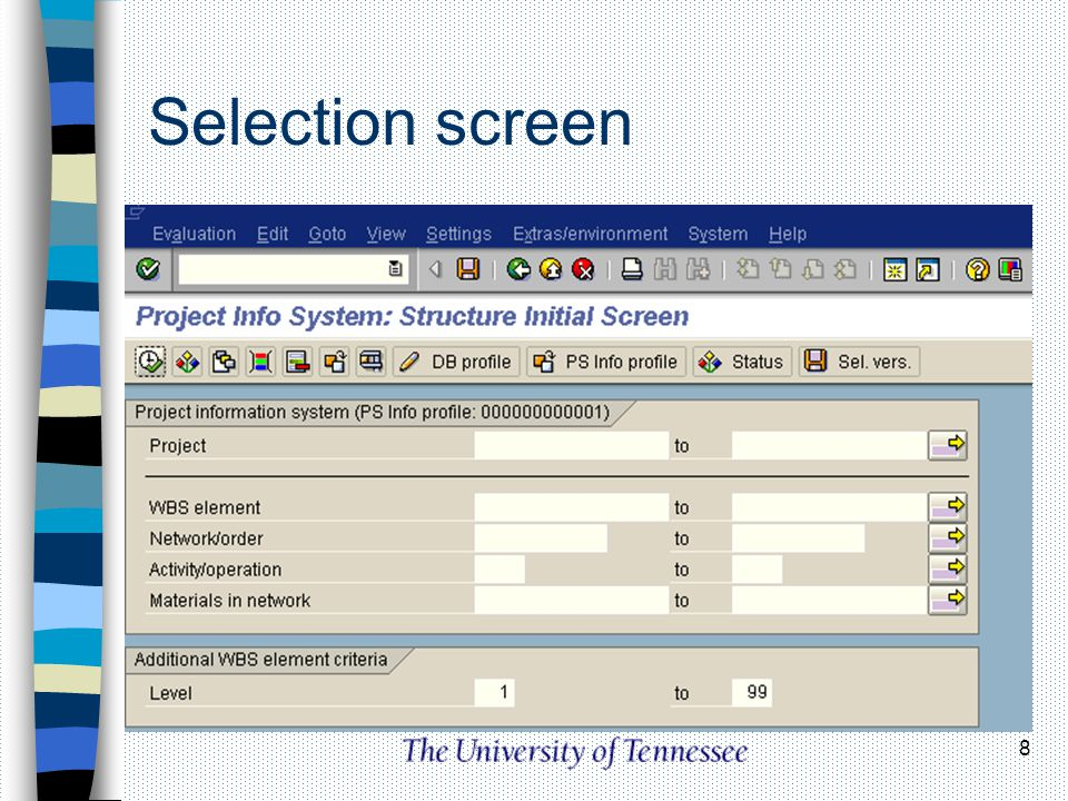 Selection screen