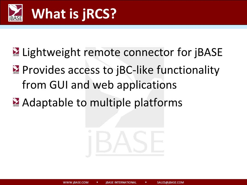What is jRCS Lightweight remote connector for jBASE