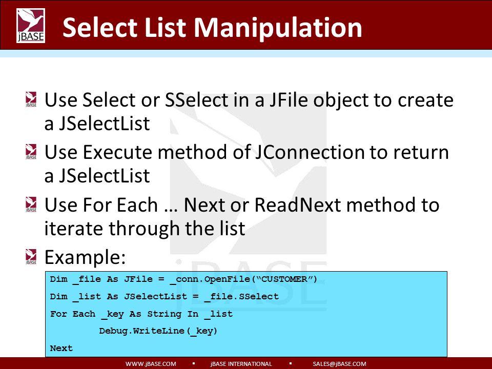 Select List Manipulation