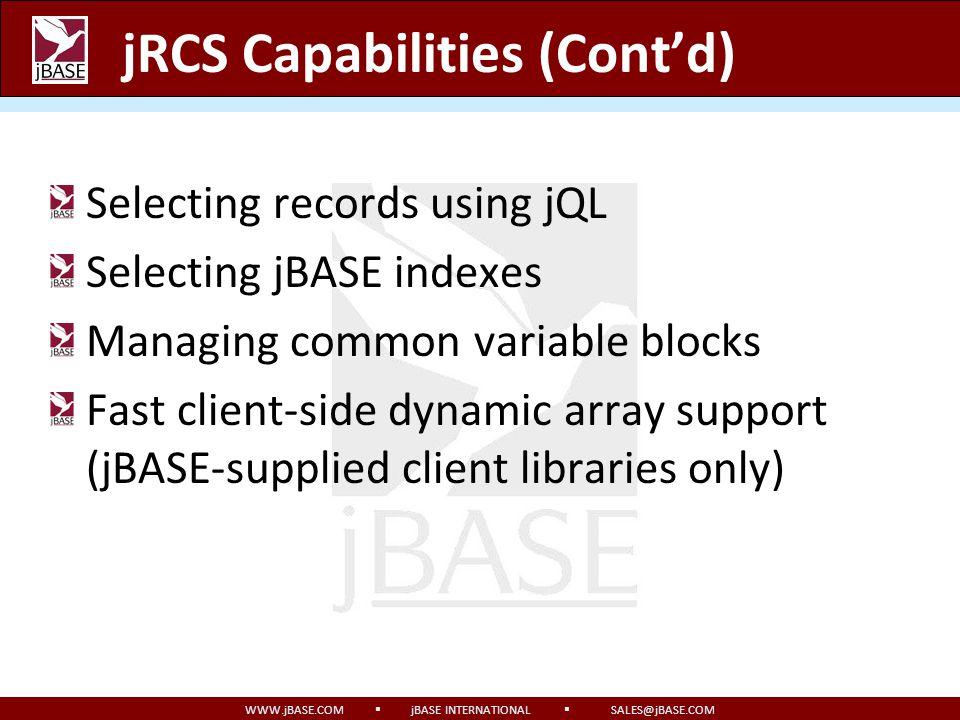 jRCS Capabilities (Cont'd)