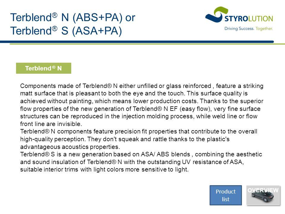 Terblend® N (ABS+PA) or Terblend® S (ASA+PA)