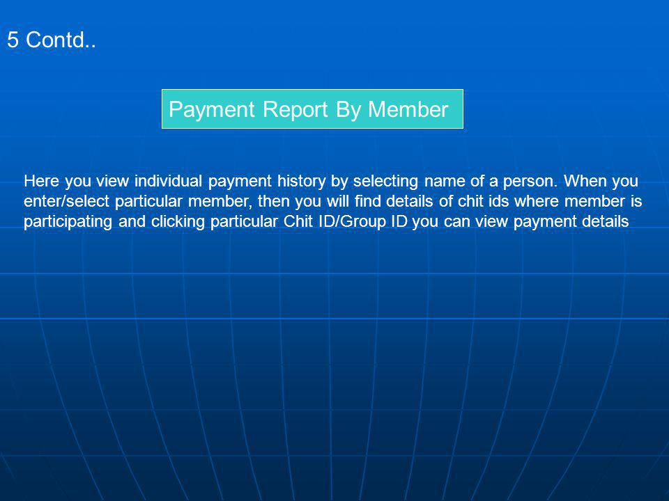 Payment Report By Member