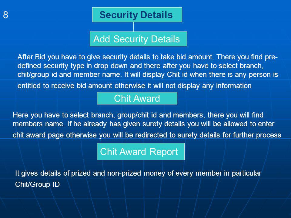 8 Security Details Add Security Details Chit Award Chit Award Report