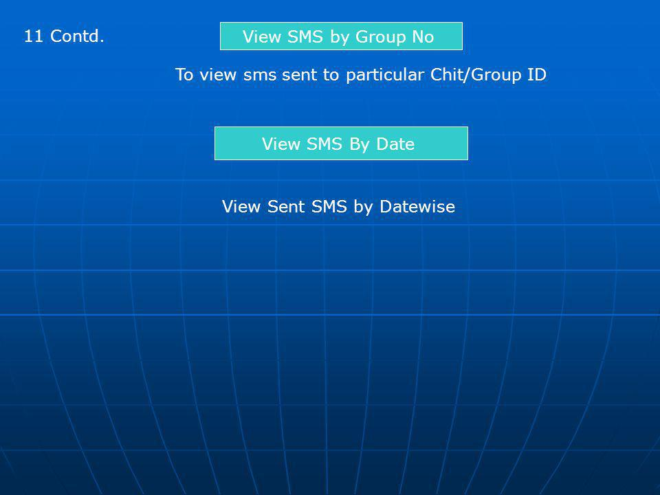 11 Contd. View SMS by Group No. To view sms sent to particular Chit/Group ID.
