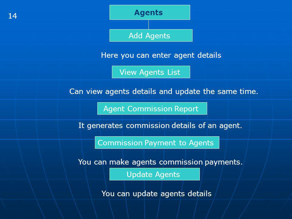 Here you can enter agent details