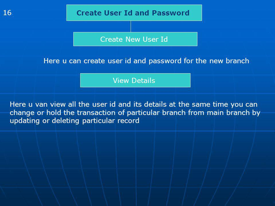 Create User Id and Password