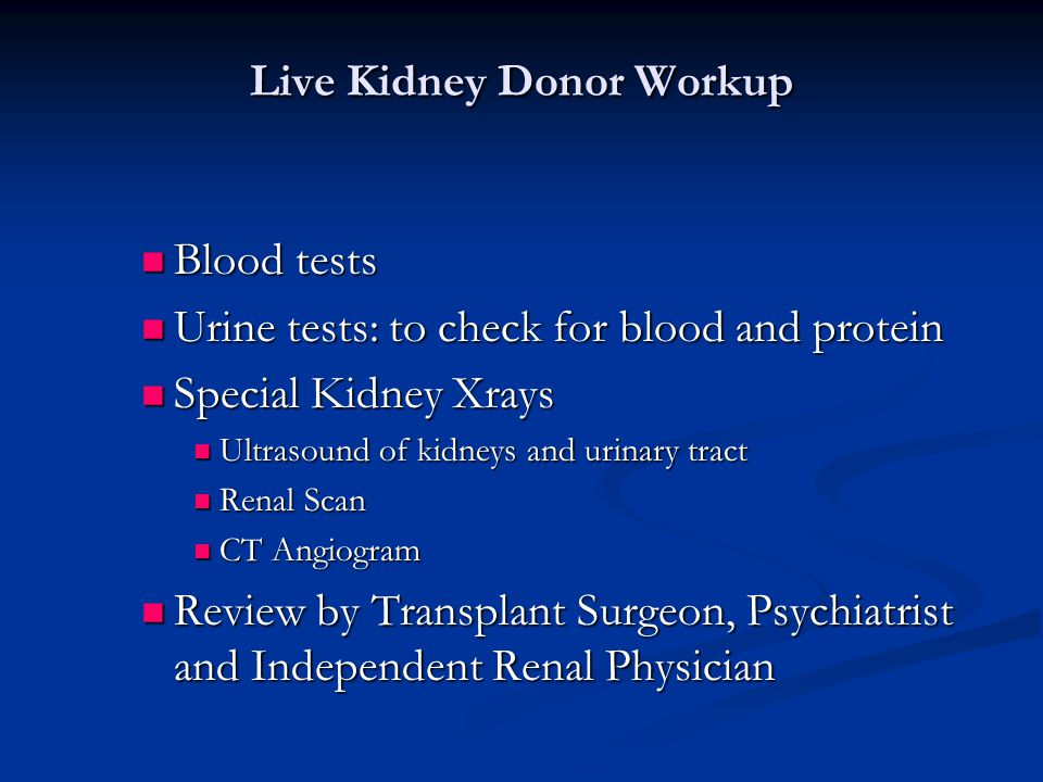 Live Kidney Donor Workup