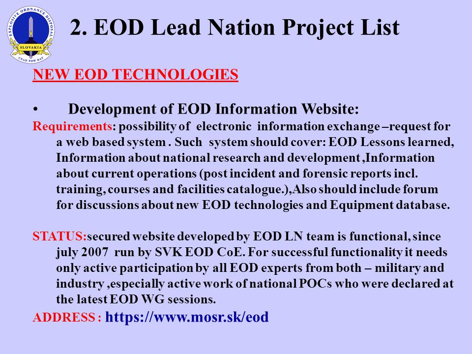 2. EOD Lead Nation Project List