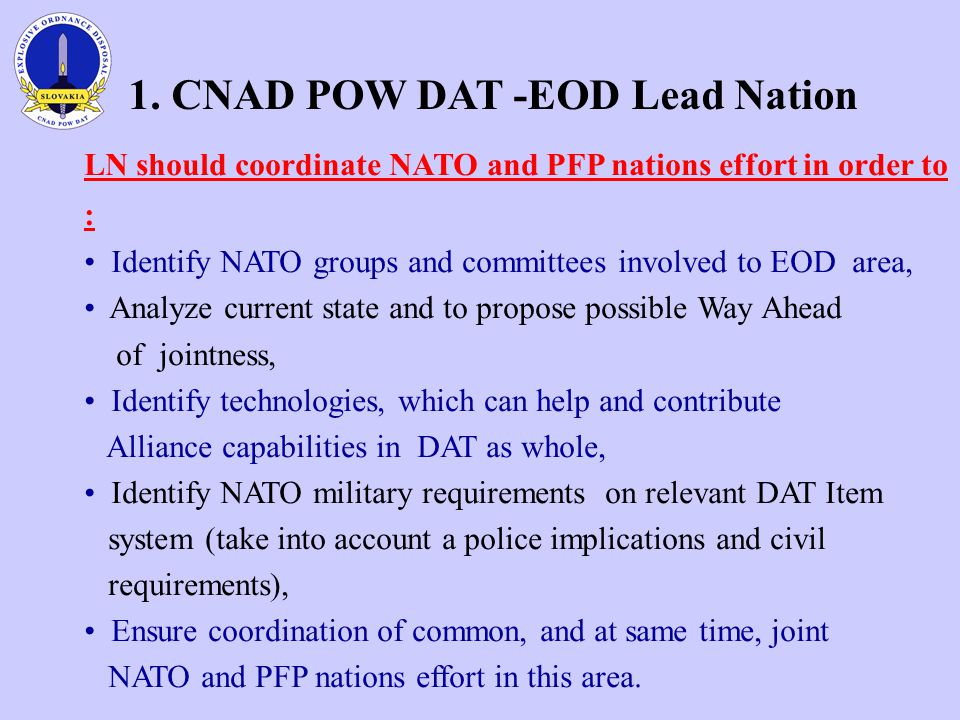 1. CNAD POW DAT -EOD Lead Nation