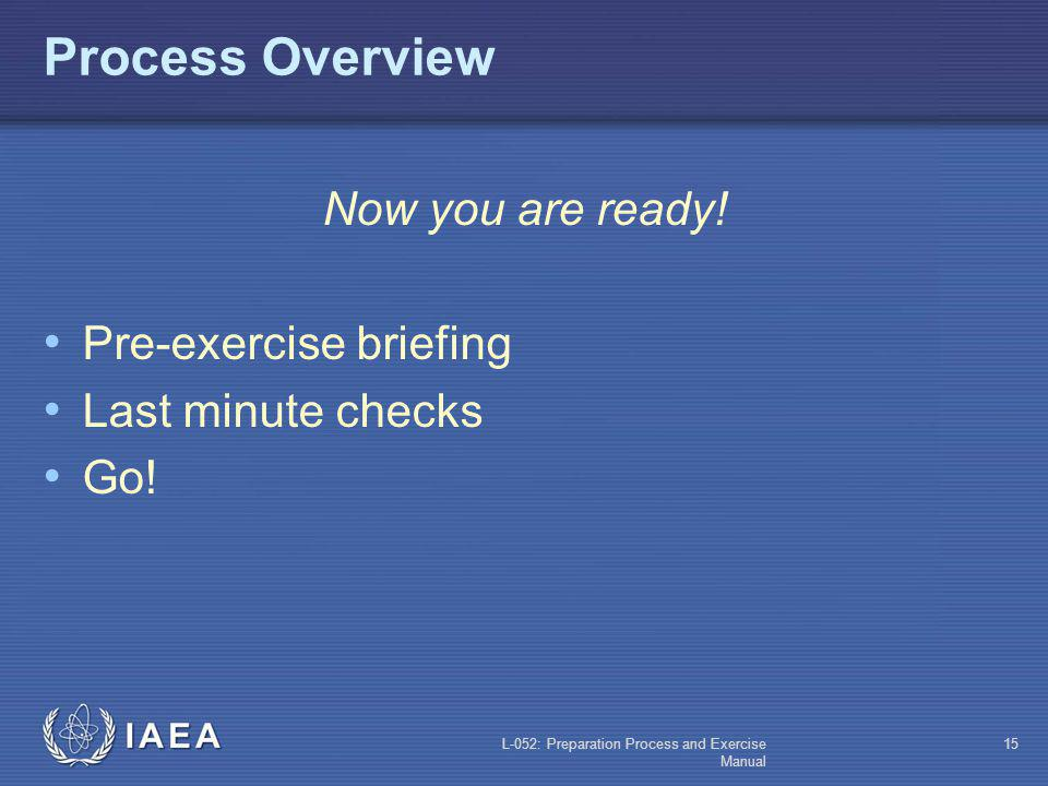 Process Overview Now you are ready! Pre-exercise briefing